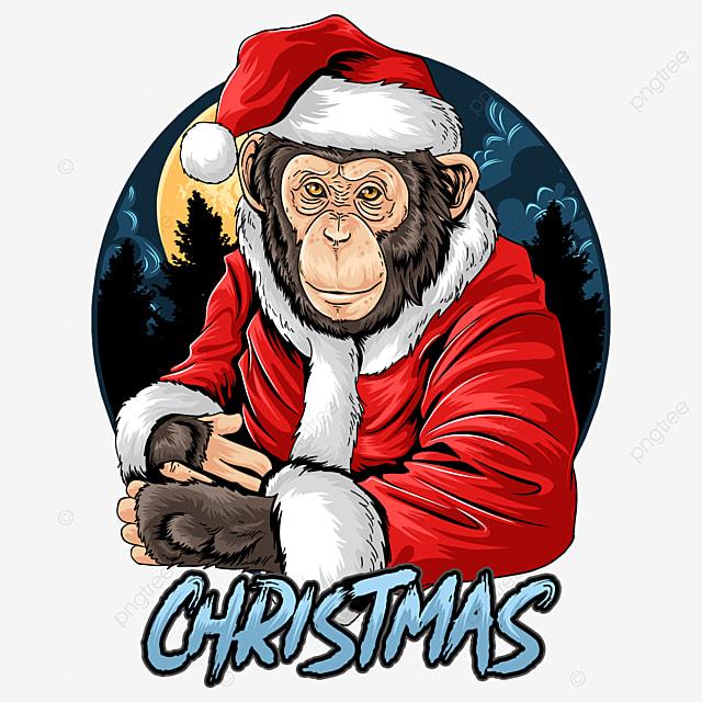 christmas santa claus cute chimpanzee monkey vector