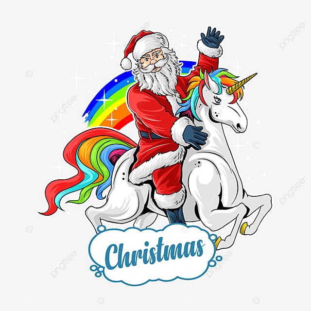 cute santa claus rides cute unicorn between rainbow and