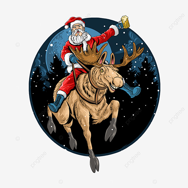 santa claus riding a christmas reindeer and singing