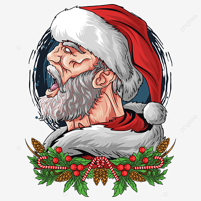 santa claus screamed with an angry but cool face vector