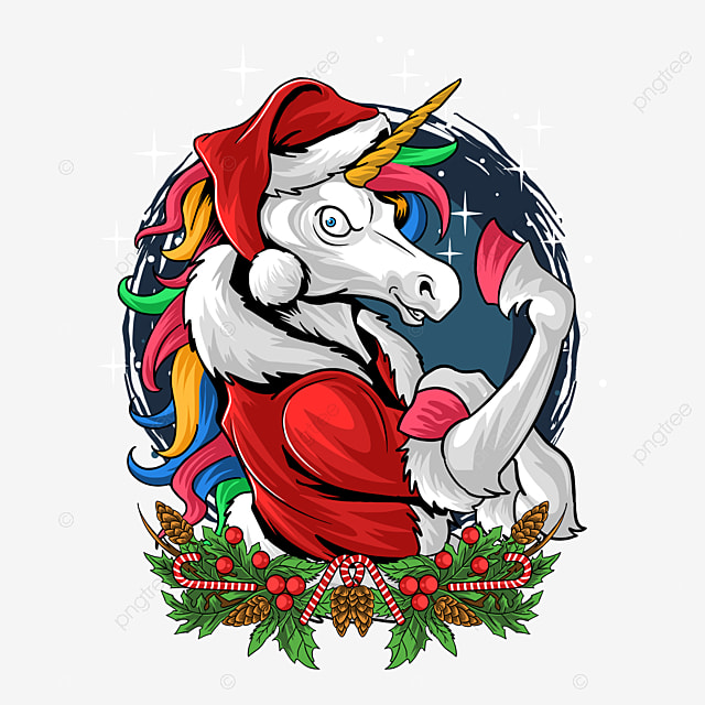 santa claus unicorn gym rainbow colored hair shows off her muscles vector