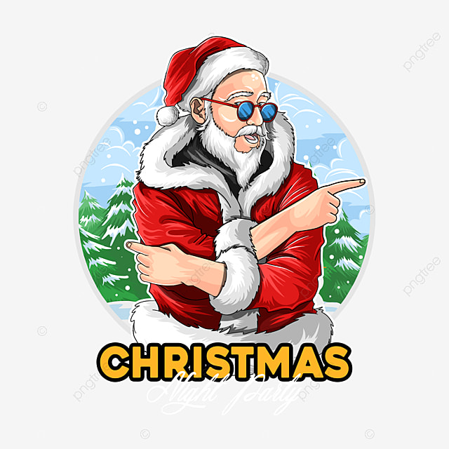 santa claus wears dark glasses at the christmas party vector