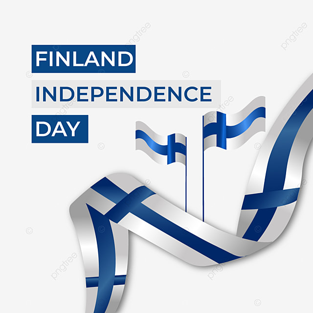 finland independence day ribbon flag flying