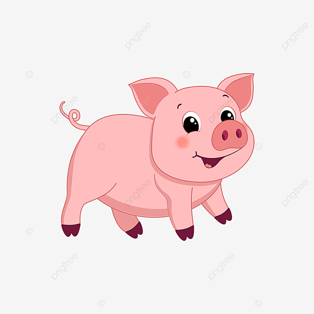 Pig Clipart Cute Fat Pig Cartoon Vector Animal Material Cartoon Clipart Pig Cartoon Pig Png And Vector With Transparent Background For Free Download