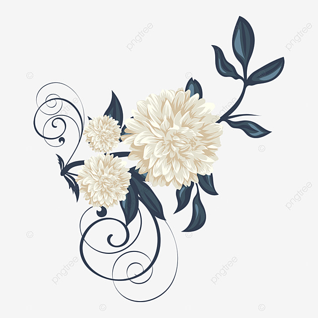 Beautiful Vintage White Flower Ornament Vector Illustration Flower Floral Nature Png And Vector With Transparent Background For Free Download