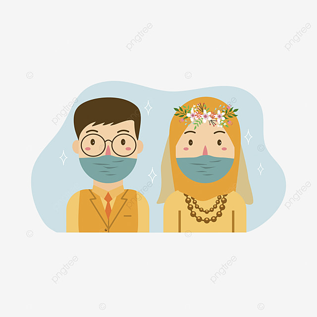 Muslim Bride And Groom Vector Cartoon Illustration Wedding White Card Png And Vector With Transparent Background For Free Download