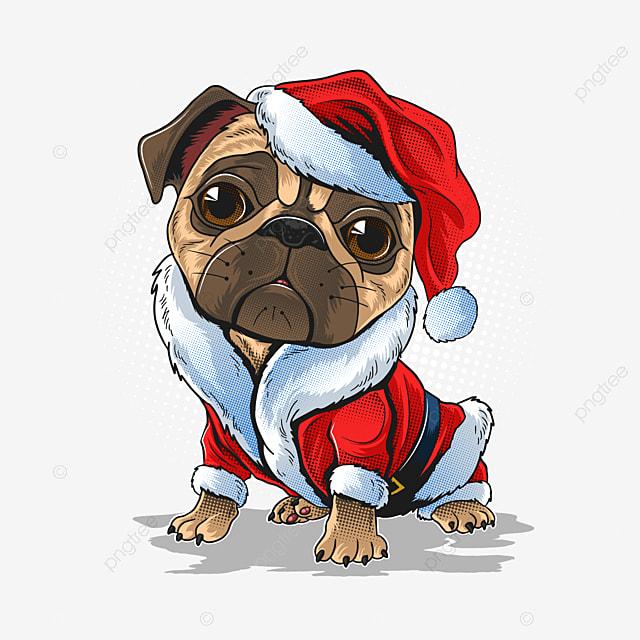 Froid dehors neige Chien Carlin personnalisé Carte de Noël
