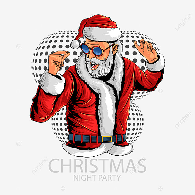 santa claus at christmas party of dance and music