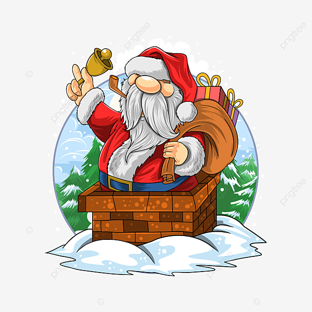 santa claus christmas went into the chimney of house