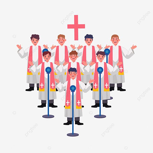 cartoon hand drawn choir church illustration
