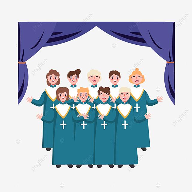 cartoon hand drawn church choir blue illustration