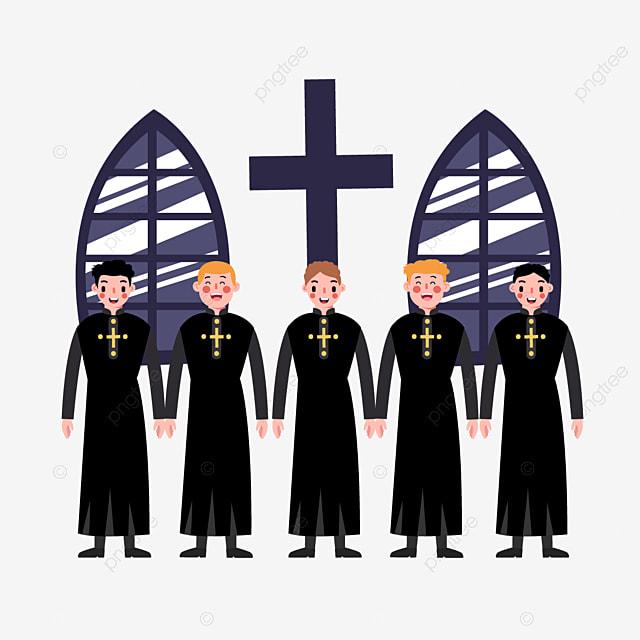 cartoon hand drawn church choir illustration