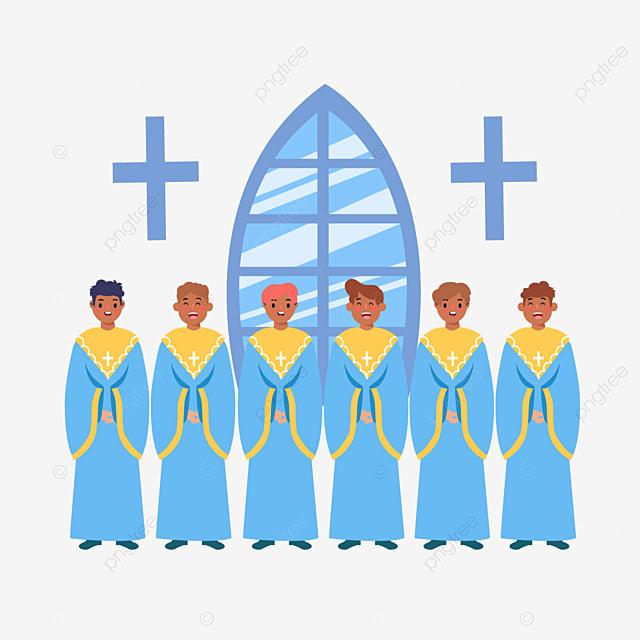 hand drawn cartoon blue church choir illustration