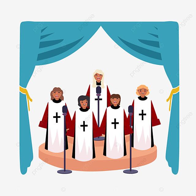 hand drawn cartoon church choir blue illustration
