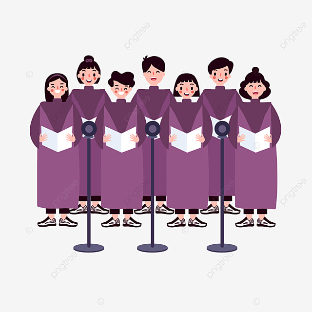 hand drawn cartoon church choir illustration