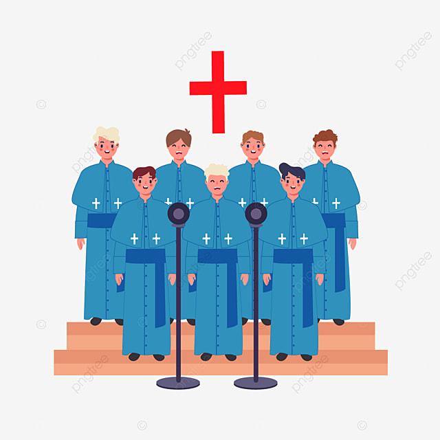 hand drawn cartoon church choir