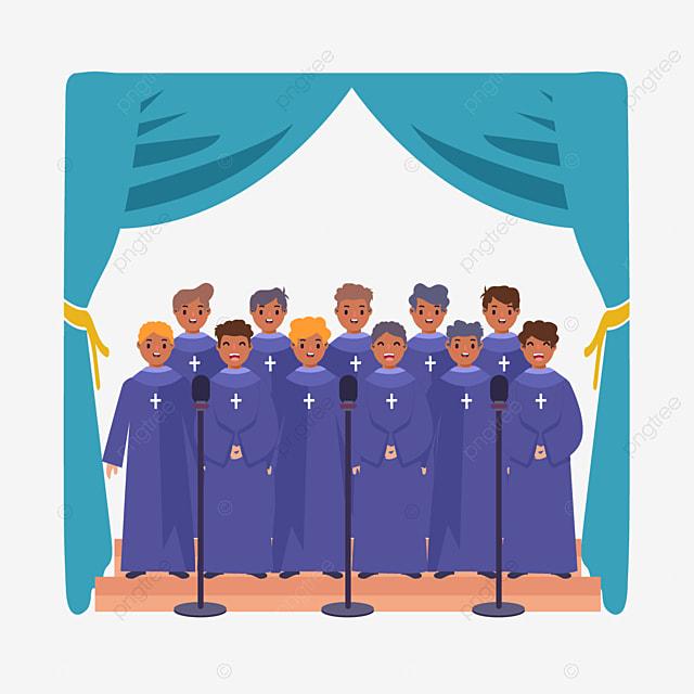 hand drawn cartoon church choir purple illustration