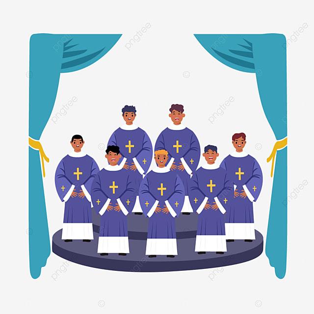 hand drawn cartoon church gospel choir illustration