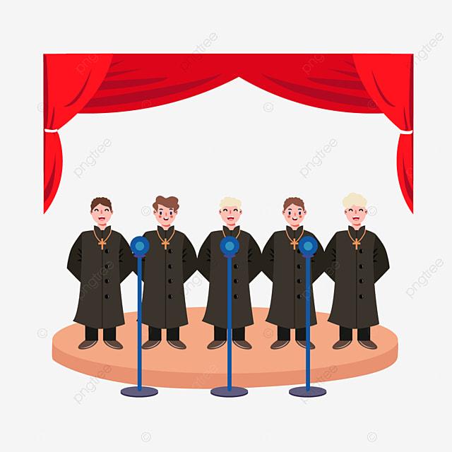 hand drawn cartoon stage choir church church