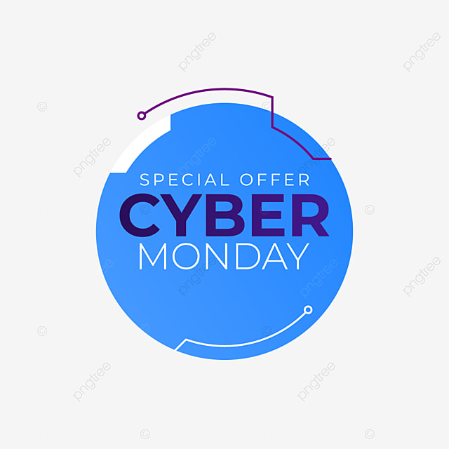 Cyber Monday Text Isolated In Cirlce Marketing Online Tag Png And Vector With Transparent Background For Free Download