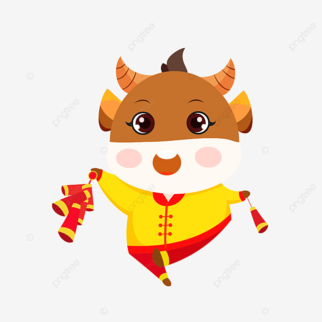 Hand Drawn Vector Ox Year Cute Baby Cow Cute Clipart Happy New Year Chinese New Year Png And Vector With Transparent Background For Free Download