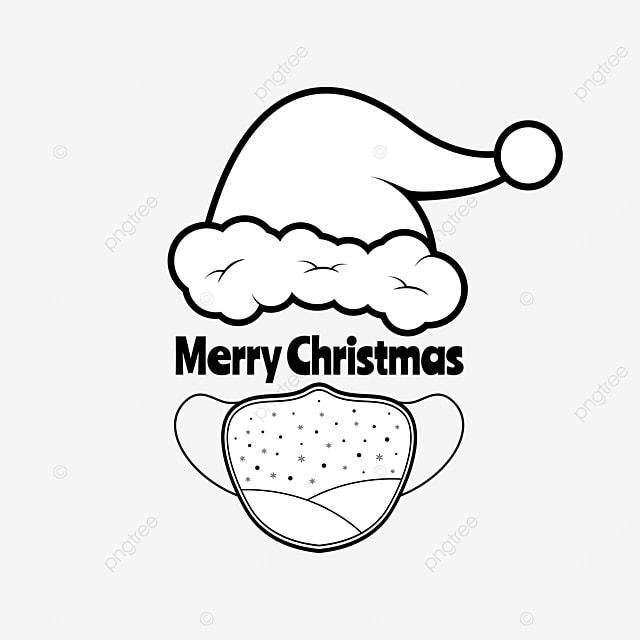 Gambar Topi Santa Hitam Putih Dengan Topeng Putih Hari Natal Topi Png Dan Vektor Dengan Latar Belakang Transparan Untuk Unduh Gratis