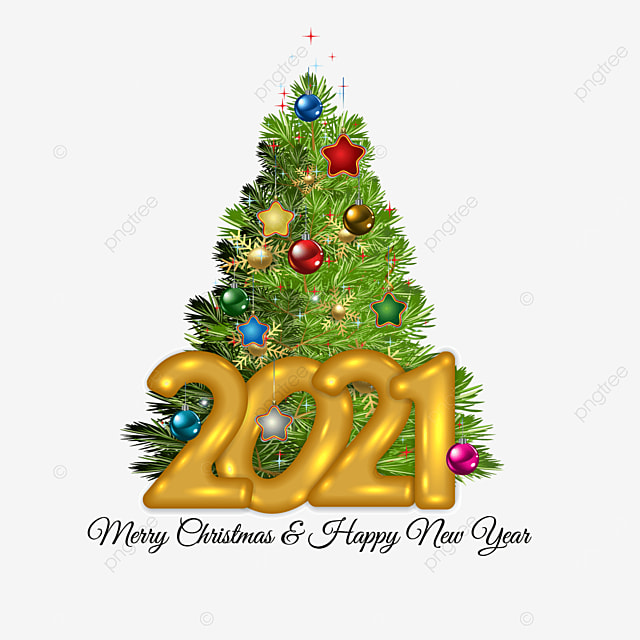 Christmas Tree Recolection 2021 Modern Christmas Tree With Gold 2021 Christmas Year Happy Png And Vector With Transparent Background For Free Download