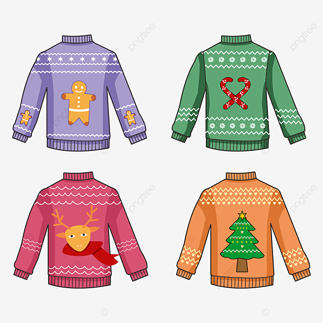 christmas sweaters in different colors