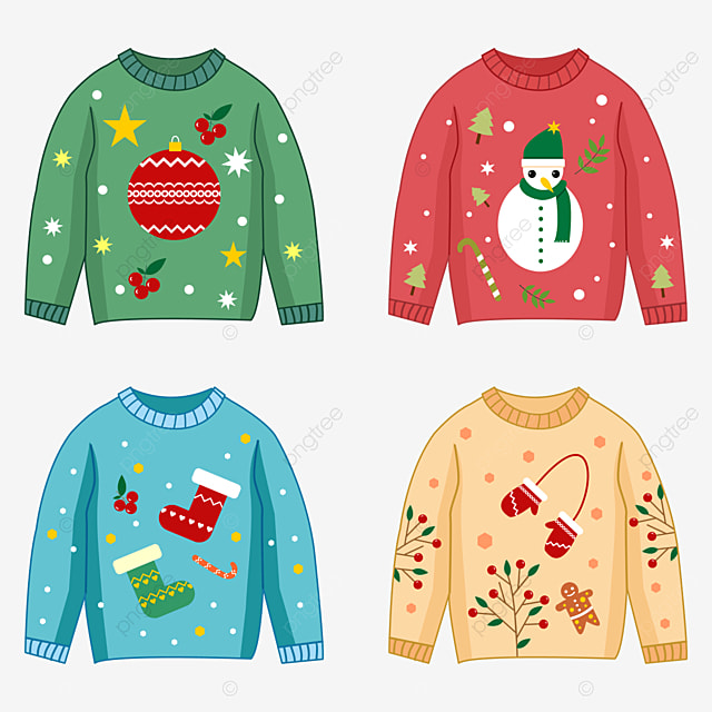various colored christmas sweaters