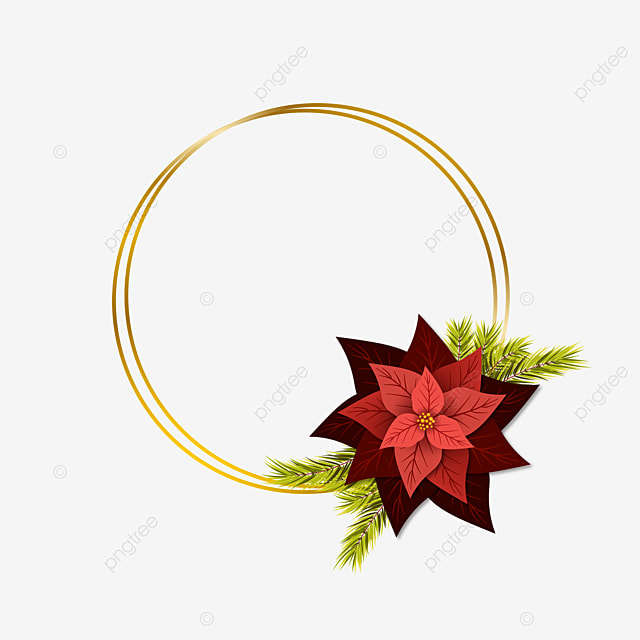 Christmas Flower Wreath With Poinsettia Christmas Christmas Card Christmas Wreath Png Png And Vector With Transparent Background For Free Download