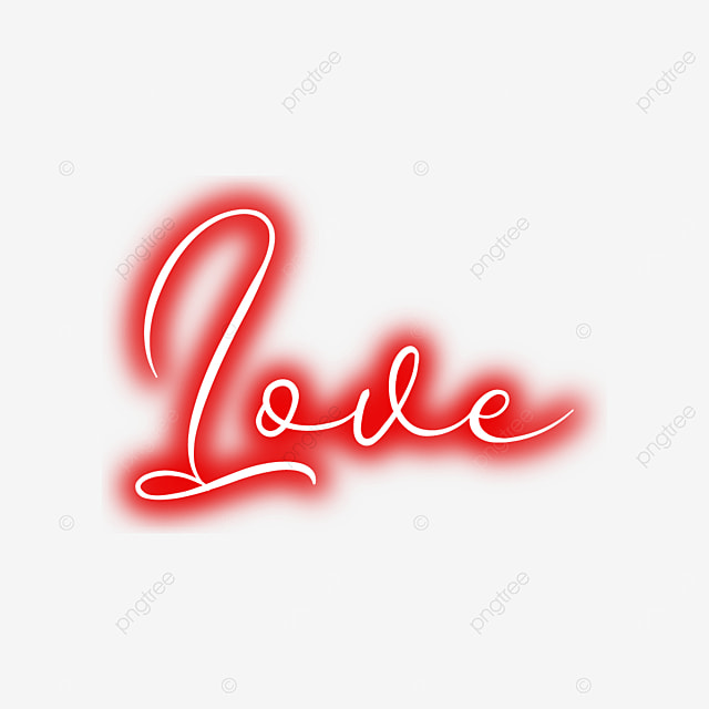 Neon Light Love Text Design, Love, Design, Background PNG and Vector