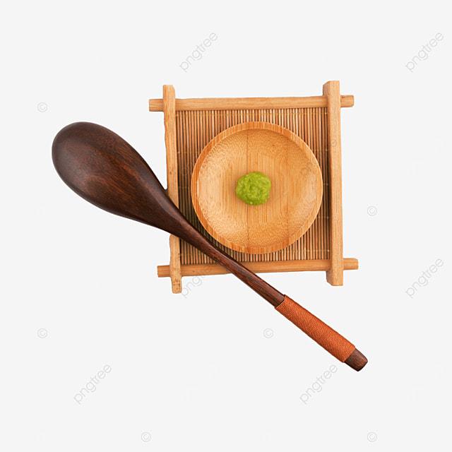 mustard green condiment wooden plate spoon