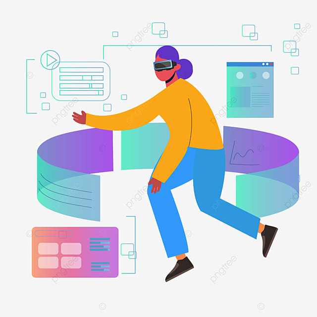 abstract character flat style technology vr illustration