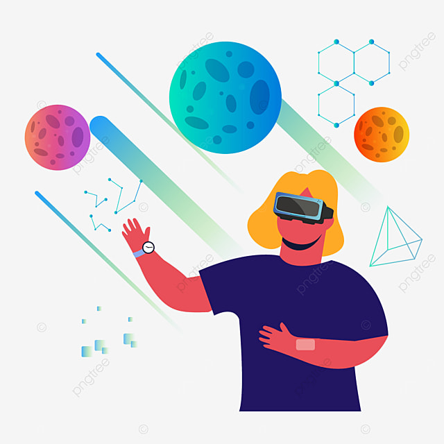 abstract gradient color planet technology vr illustration