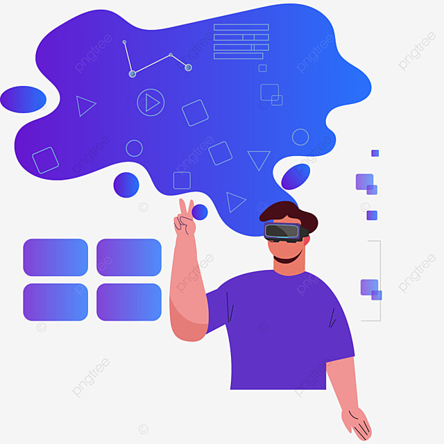 blue abstract dialog technology vr illustration