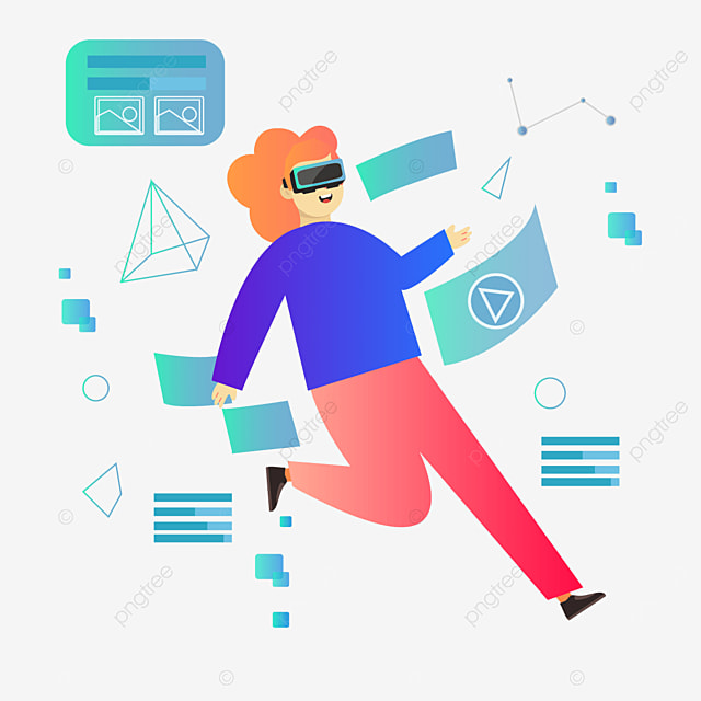 blue abstract user interface technology vr illustration