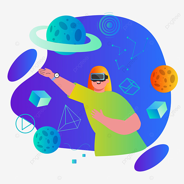 blue gradient universe element technology vr illustration
