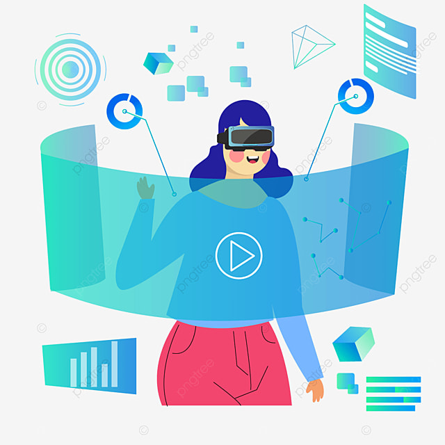 blue green abstract screen technology vr illustration