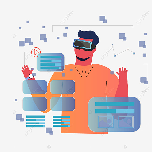 characters using user interface technology vr illustration