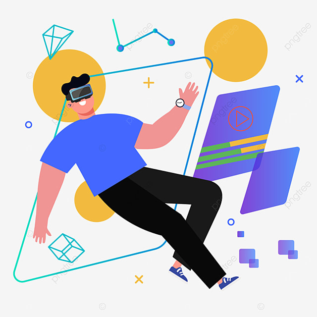 flat style abstract user interface technology vr illustration