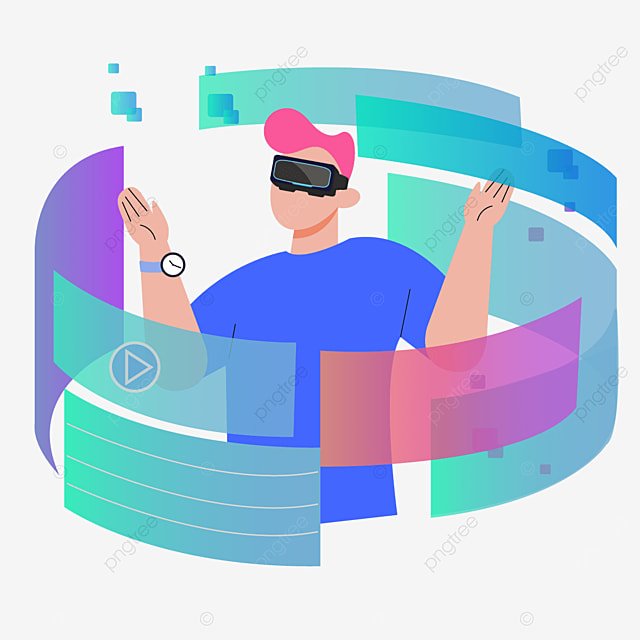 flat wind abstract technology vr illustration
