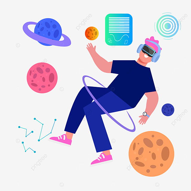 flat wind suspended character and planet technology vr illustration