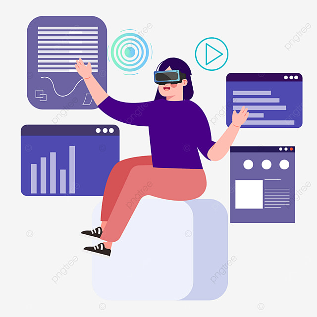 purple flat user interface technology vr illustration