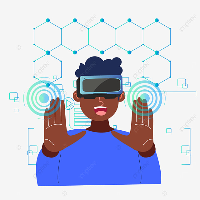 user hand pressing abstract user interface technology vr illustration