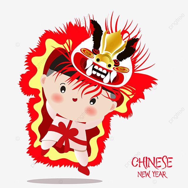 Gambar Anak Laki Laki Yang Lucu Barongsai Di Tahun Baru Cina Tahun Baru Tahun Lembu Tahun Baru Imlek Png Dan Vektor Dengan Latar Belakang Transparan Untuk Unduh Gratis