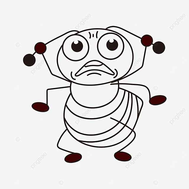 grumpy ant clipart black and white