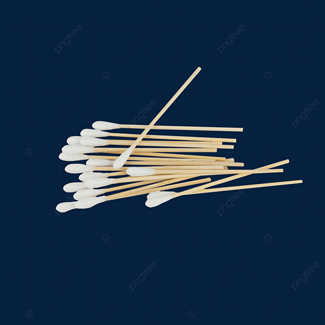 a cotton swab is placed on a pile of cotton swabs