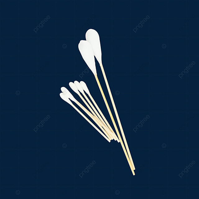 two large cotton swabs and five small cotton swabs