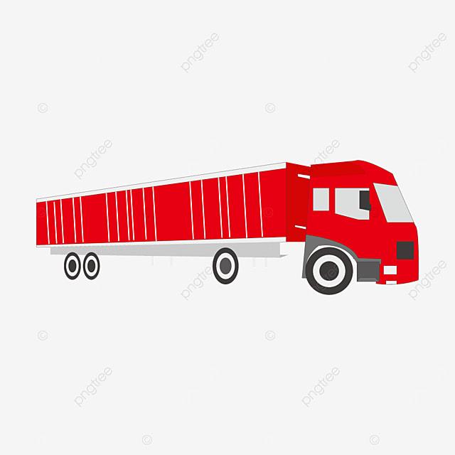 red long truck clip art