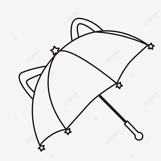 animal ears cute umbrella clipart black and white